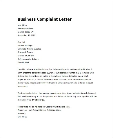 7+ Complaint Letter Examples Sample Templates - complaint letter examples