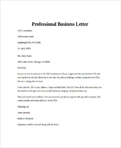 Sample Business Letter - 8+ Examples in PDF, Word - professional business letter