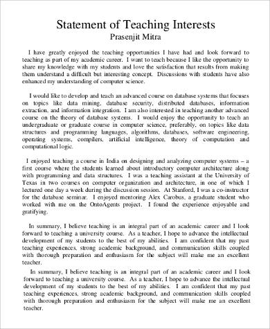 8+ Statement of Interest Samples Sample Templates - sample statement of interest