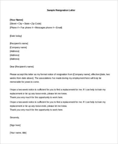 7+ Resignation Email Samples Sample Templates - resignation email
