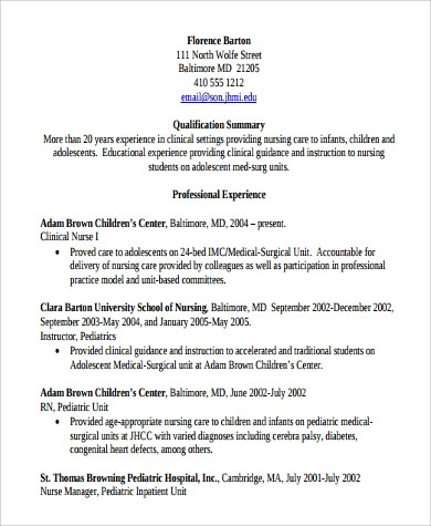 9+ Sample Clinical Nurse Manager Resumes Sample Templates - Medical Surgical Nursing Resume