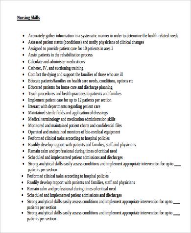 9+ Sample Clinical Nurse Manager Resumes Sample Templates - nursing skills for resume