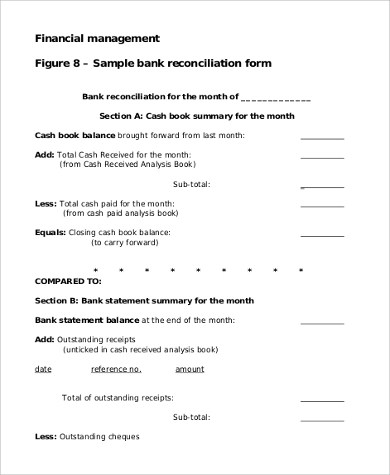 9+ Sample Bank Reconciliation Forms Sample Templates