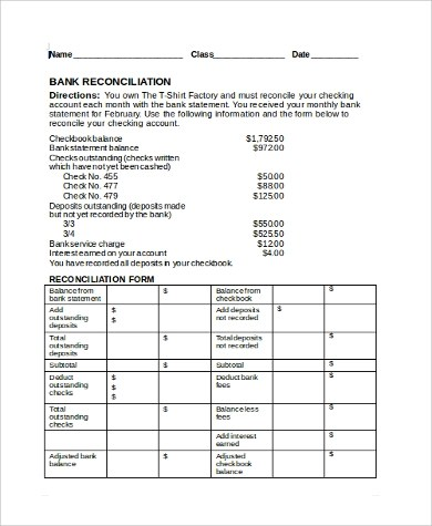 ... Sample Bank Reconciliation Form   9+ Examples In PDF, Word, ...  Bank Statement Reconciliation Form