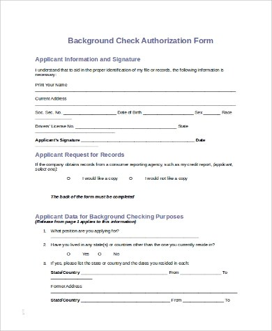Background Check Forms American Fbi Check Download Forms - background check consent forms
