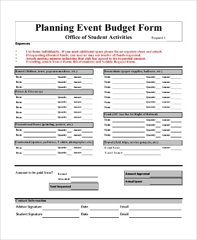 10+ Sample Budget Forms Sample Templates - budget forms