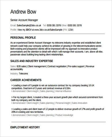 9+ Sample Account Manager Resumes Sample Templates - account manager sample resume