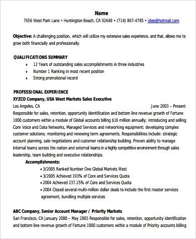 Sample Account Manager Resume - 9+ Examples in PDF, Word