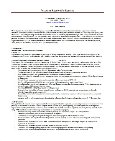 9+ Sample Account Manager Resumes Sample Templates - accounts receivable manager resume