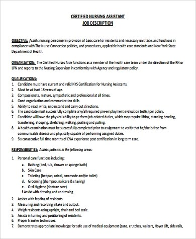 9+ Nursing Assistant Job Description Samples Sample Templates - Nursing Assistant Job Description