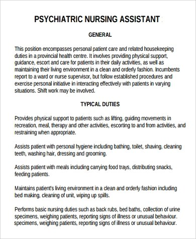 Sample Nursing Assistant Job Description - 9+ Examples in PDF, Word