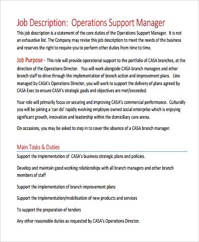 9+ Operation Manager Job Description Samples Sample Templates