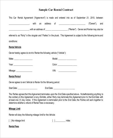 car rental contract - Apmayssconstruction