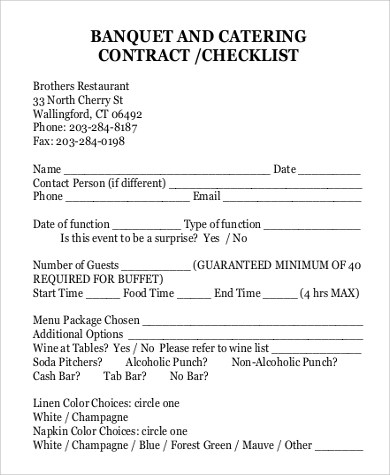 Sample Catering Contract - 13+ Examples in PDF, Word - catering contract template