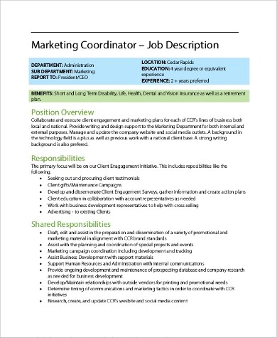 9+ Coordinator Job Description Samples Sample Templates - marketing coordinator job description