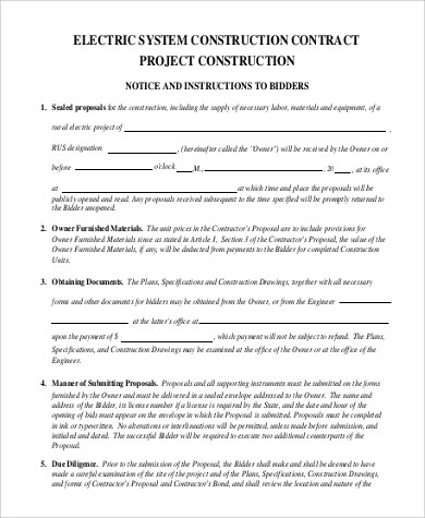Sample Construction Contract - 11+ Examples in PDF, Word