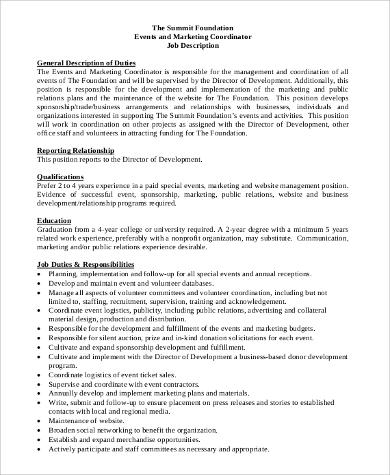 9+ Coordinator Job Description Samples Sample Templates - event planner job description