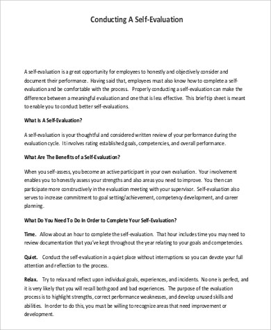 9+ Employee Self Evaluation Samples Sample Templates - conduct employee evaluations