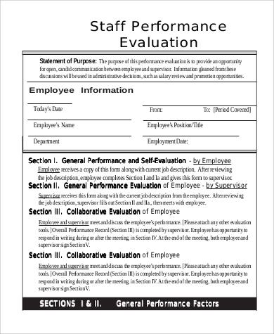 Job self evaluation sample