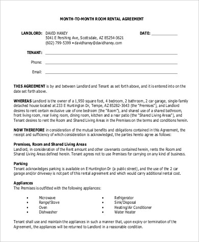 10+ Sample Rental Agreements Month to Month Sample Templates - define rental agreement