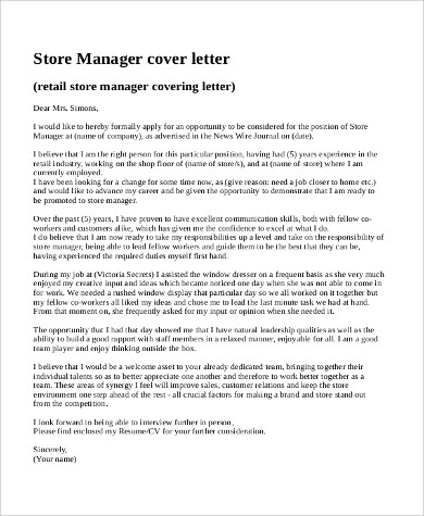 9+ Sample Retail Cover Letters Sample Templates - retail store manager cover letter