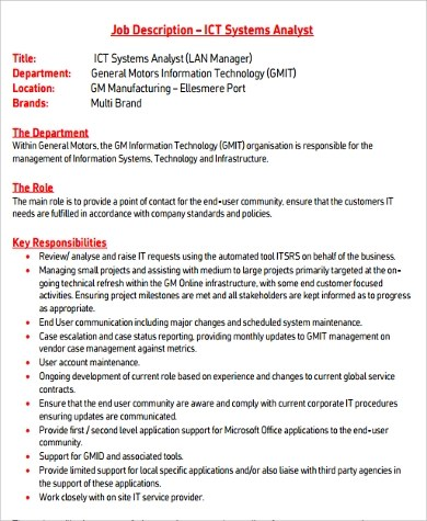 10+ Analyst Job Description Samples Sample Templates