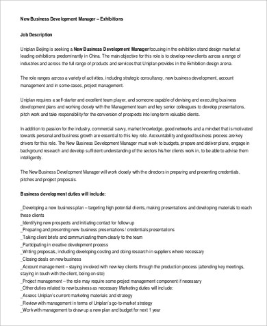 Sample Business Development Manager Job Description - 9+ Examples in