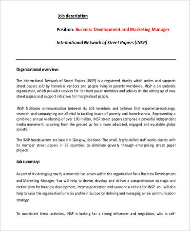 job description of business development officer business