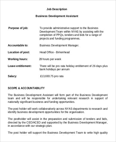 Sample Business Development Manager Job Description - 9+ Examples in