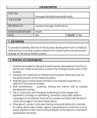 Business Manager Job Description Retail Business Manager Job - business manager job description