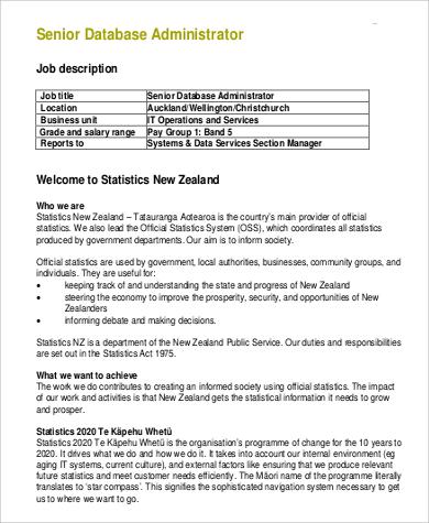 9+ Database Administrator Job Description Samples Sample Templates