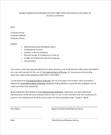 Sample Employee Verification Letter - 10+ Examples in PDF, Word - previous employment verification letter