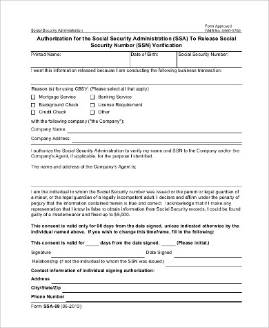 Social Security Administration Form - 8+ Examples in PDF, Word