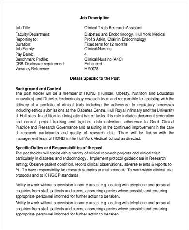 Sample Research Assistant Job Description - 10+ Examples In Pdf - executive assistant job description resume