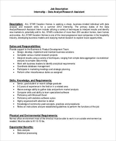Sample Research Assistant Job Description - 10+ Examples in PDF, Word - research analyst job description