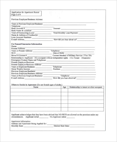Sample Apartment Rental Application - 10+ Examples in PDF, Word - apartment application form