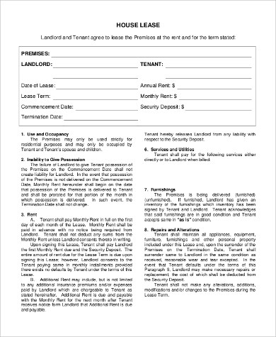 9+ Sample Free Lease Agreement Forms Sample Templates - free tenant agreement form