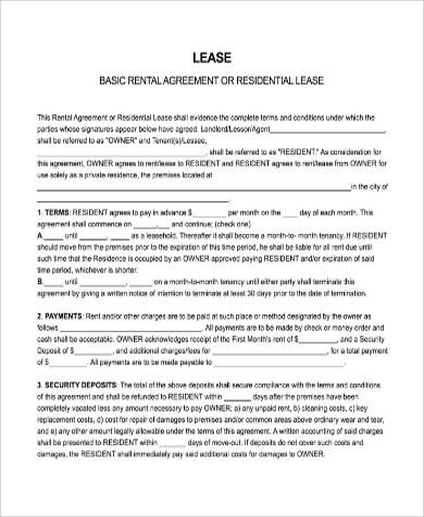 9+ Sample Free Lease Agreement Forms Sample Templates