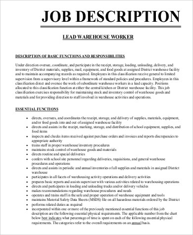 sample resume warehouse job description best resumes curiculum vitae and cover letter. Black Bedroom Furniture Sets. Home Design Ideas