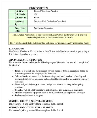 9+ Warehouse Worker Job Description Samples Sample Templates