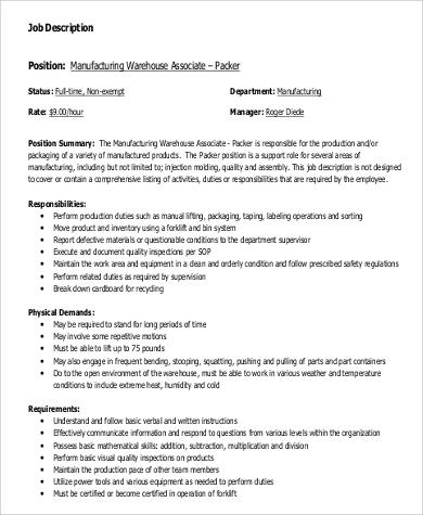9+ Warehouse Worker Job Description Samples Sample Templates - warehouse associate job description
