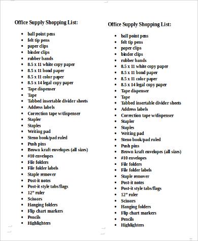 10+ Printable Shopping Lists Sample Templates