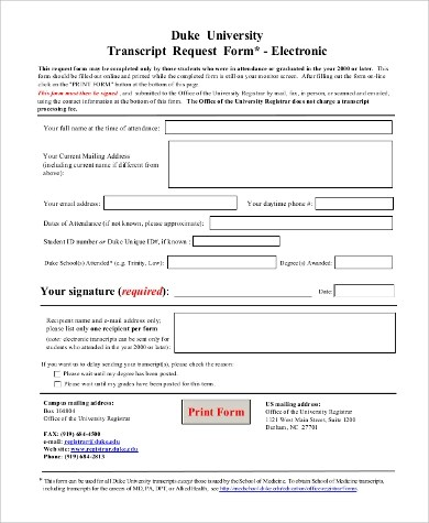 Sample Transcript Request Form - 0+ Examples in Word, PDF