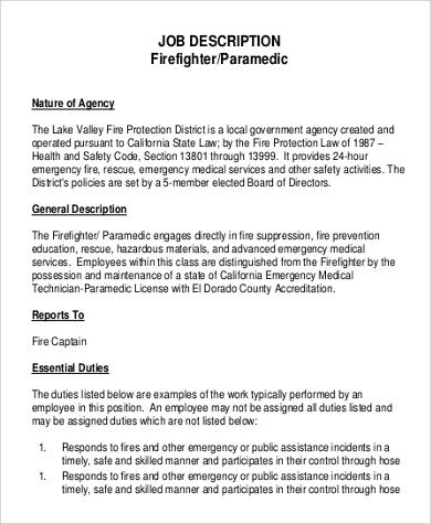 ... Sample Firefighter Job Description   9+ Examples In PDF   Firefighter  Job Description For Resume ... Good Looking