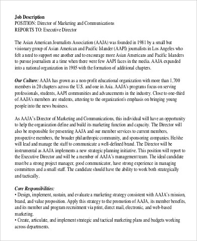 Sample Director of Marketing Job Description - 9+ Examples in PDF