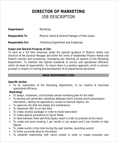 Sample Director of Marketing Job Description - 9+ Examples in PDF
