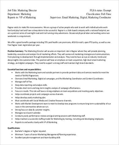 9+ Director of Marketing Job Description Samples Sample Templates - responsibilities of a marketing director