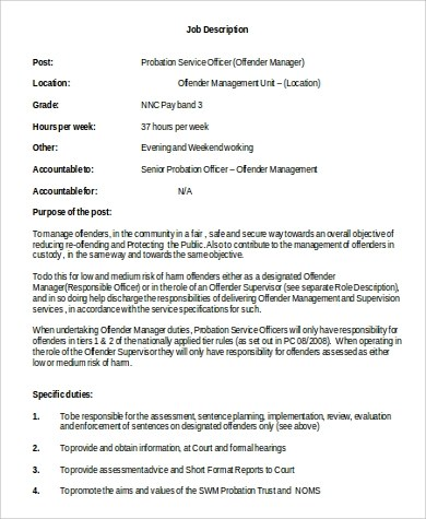 Sample Probation Officer Job Descriptions - 9+ Examples in Word, PDF