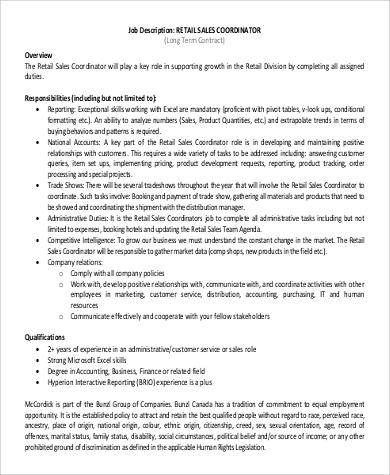inside sales coordinator job description