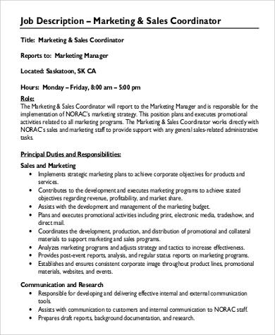 9+ Sales Coordinator Job Description Samples Sample Templates - marketing coordinator job description